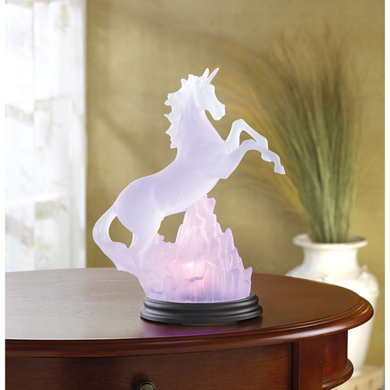 Image 0 of Frosted Unicorn Lighted Sculpture