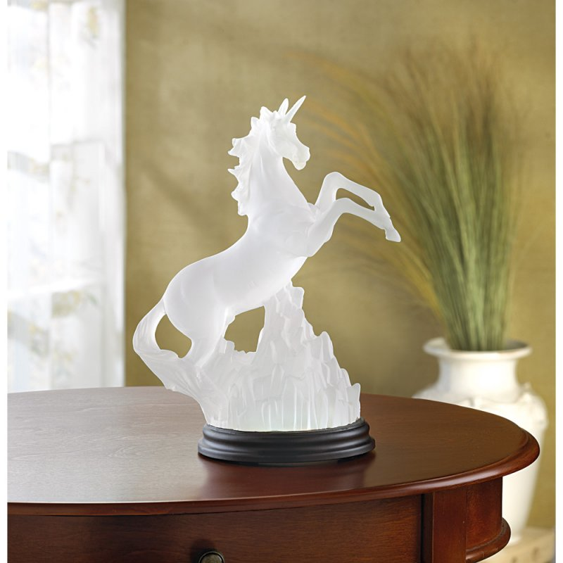 Image 1 of Frosted Unicorn Lighted Sculpture