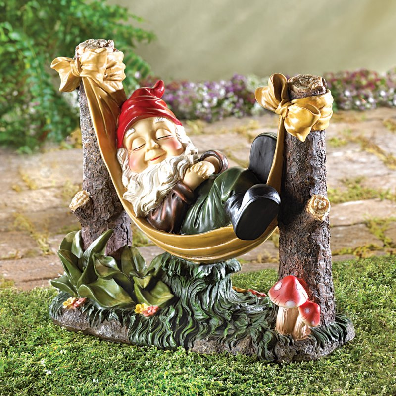 Image 0 of Sleeping Gnome in Hammock Garden Statue
