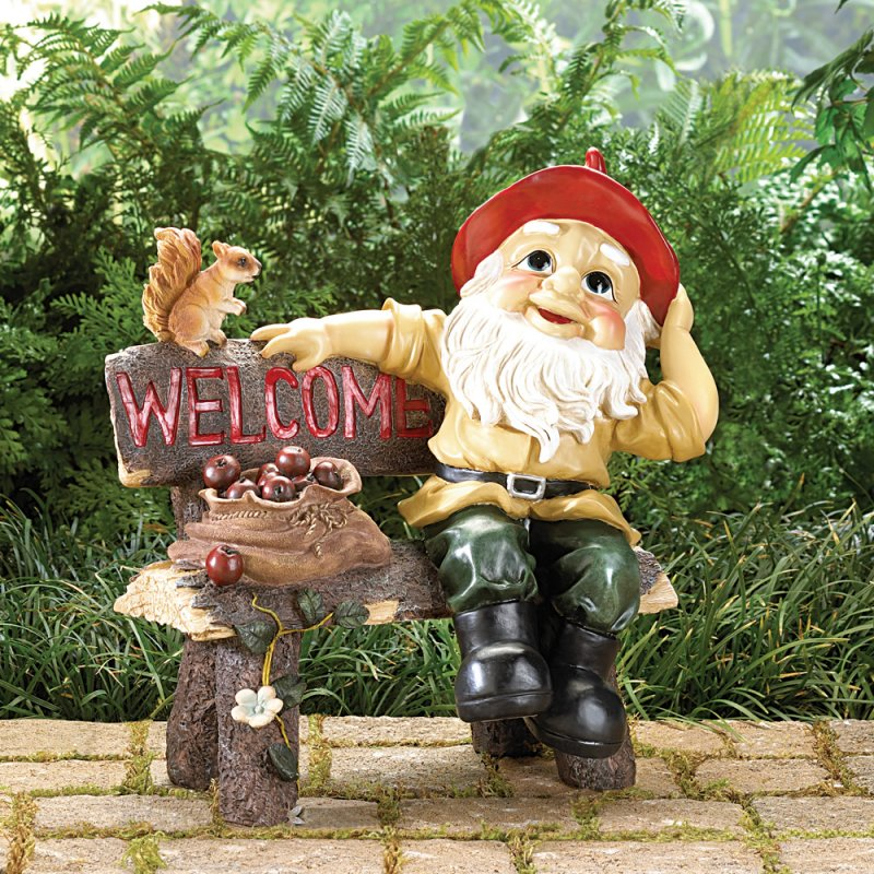 Image 0 of Garden Gnome on Bench with Welcome Sign Garden Decor