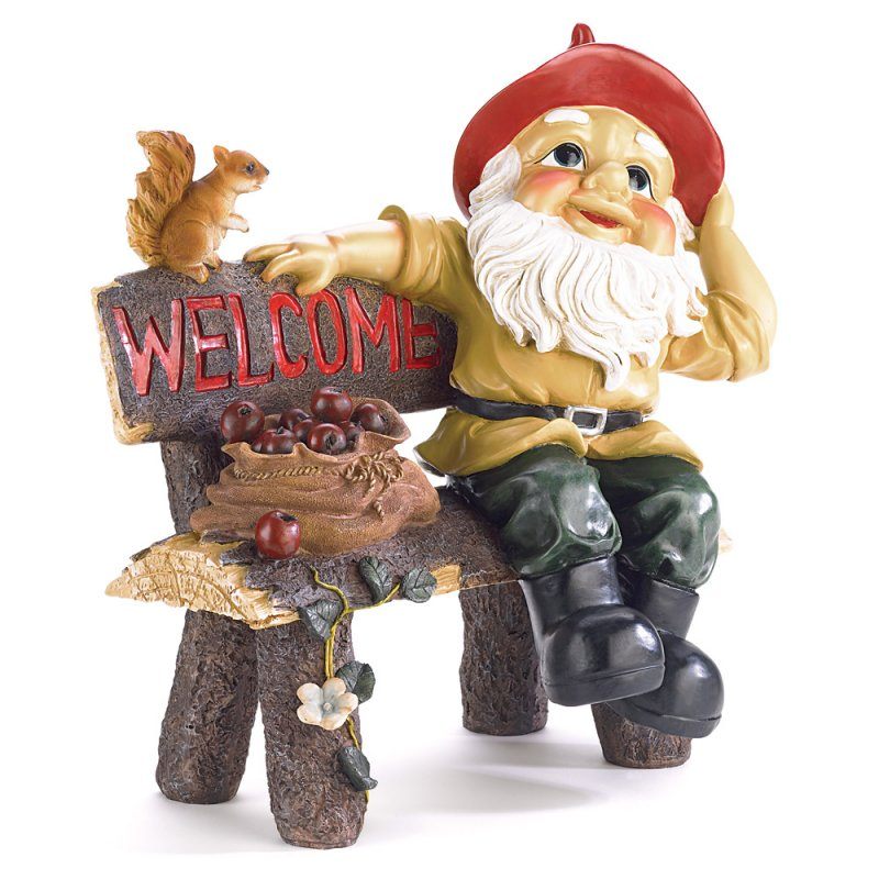Image 1 of Garden Gnome on Bench with Welcome Sign Garden Decor