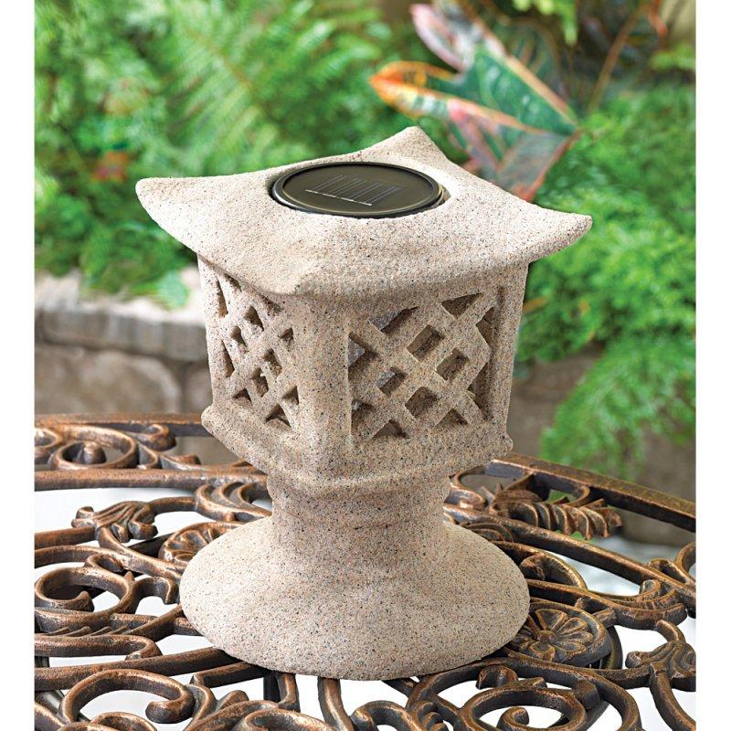 Solar Pagoda Lattice Caged Base Garden Lantern