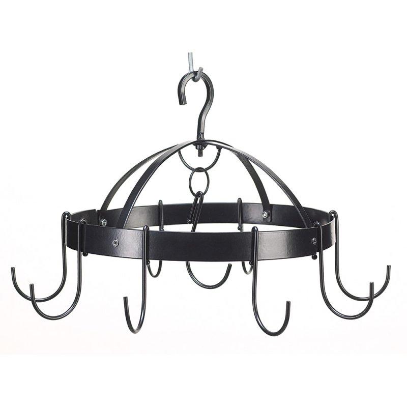 Mini Round Black Pot Rack Hanger Holds 6 Pots