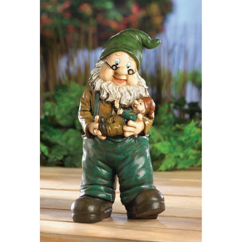 Image 0 of Grandpa Garden Gnome Holding Grandson Lawn Statue