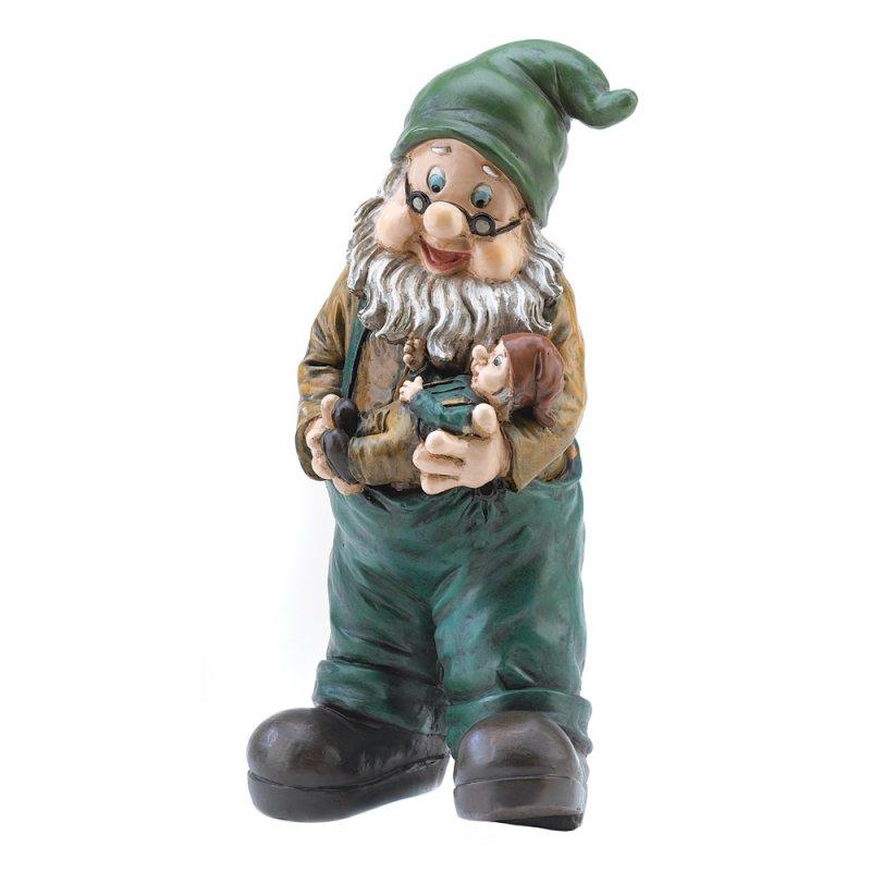 Image 1 of Grandpa Garden Gnome Holding Grandson Lawn Statue