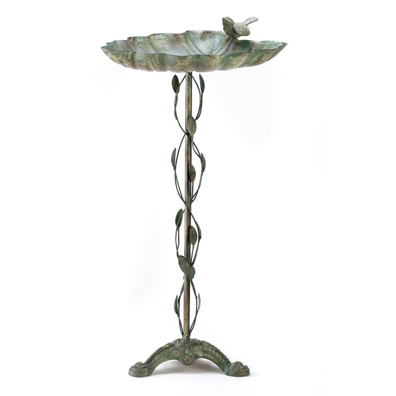 Image 1 of Wrought Iron Verdigris Finish Leaf Design Birdbath