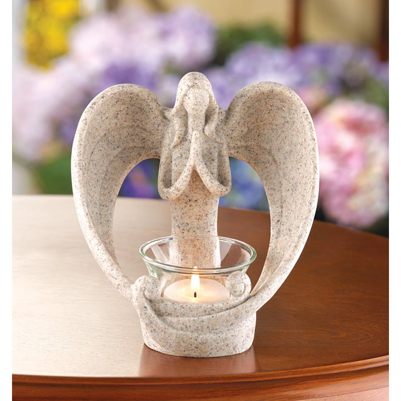Desert Sand Design Angel Figurine Polyresin Spiritual Decor