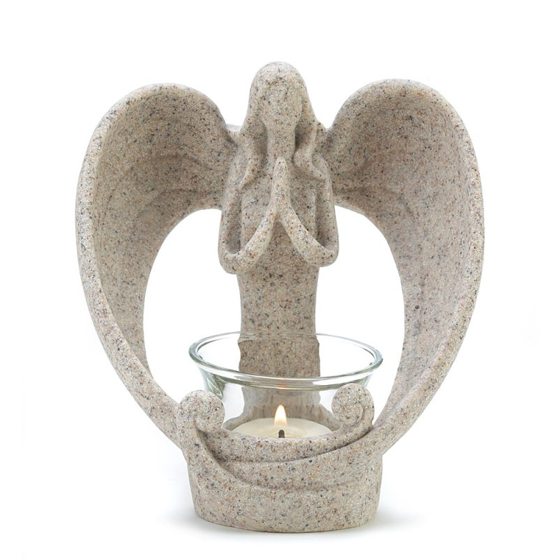 Image 1 of Desert Sand Style Angel Candle Holder Polyresin