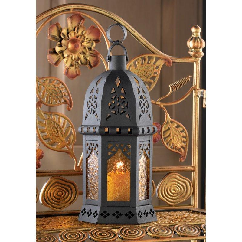 Moroccan Style Lacy Cutouts Golden Lantern