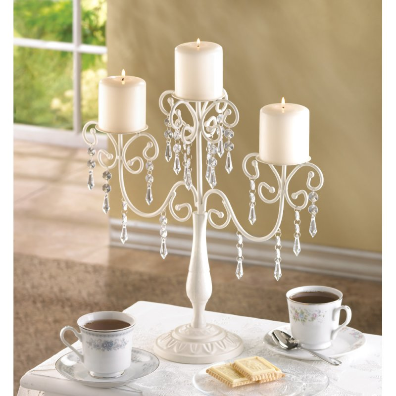 Distressed Ivory Old World Design Shabby Candelabra