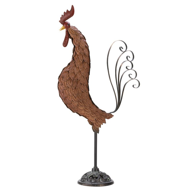 Image 1 of Wrought Iron Tuscanny Rooster Sculpture 31 in. High