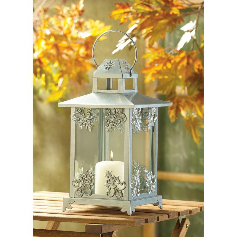 Elegant Silver Finish Scrollwork Candle Lantern