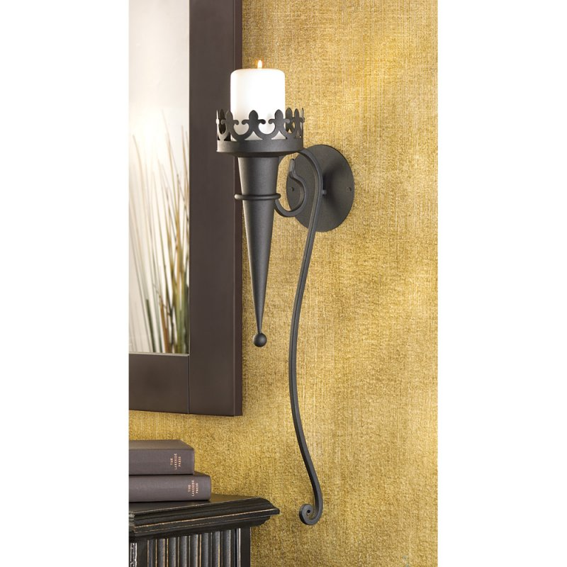 Image 1 of Torch Style Matte Black Gothic Candle Wall Sconce