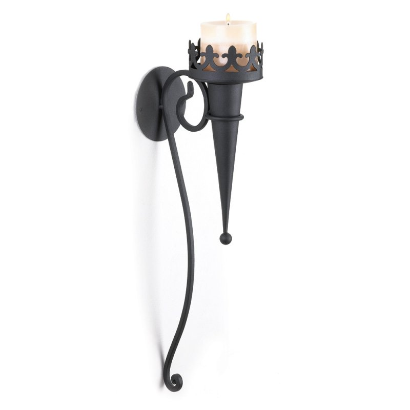 Image 0 of Torch Style Matte Black Gothic Candle Wall Sconce