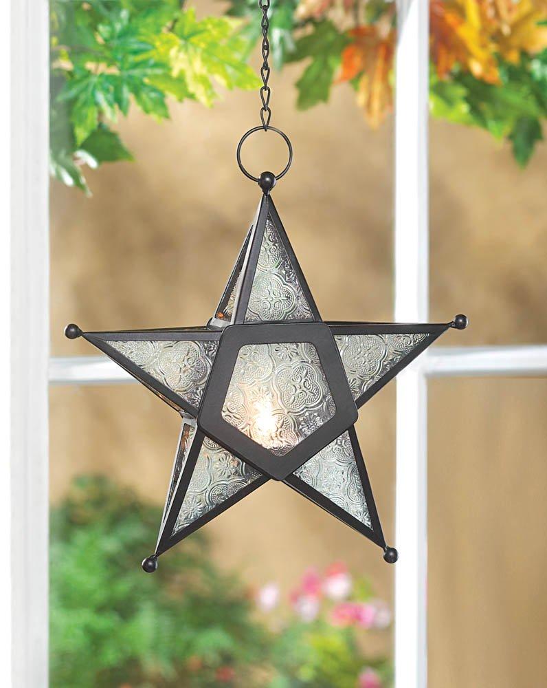 Image 0 of Hanging Five-Pointed Star Metal & Glass Lantern