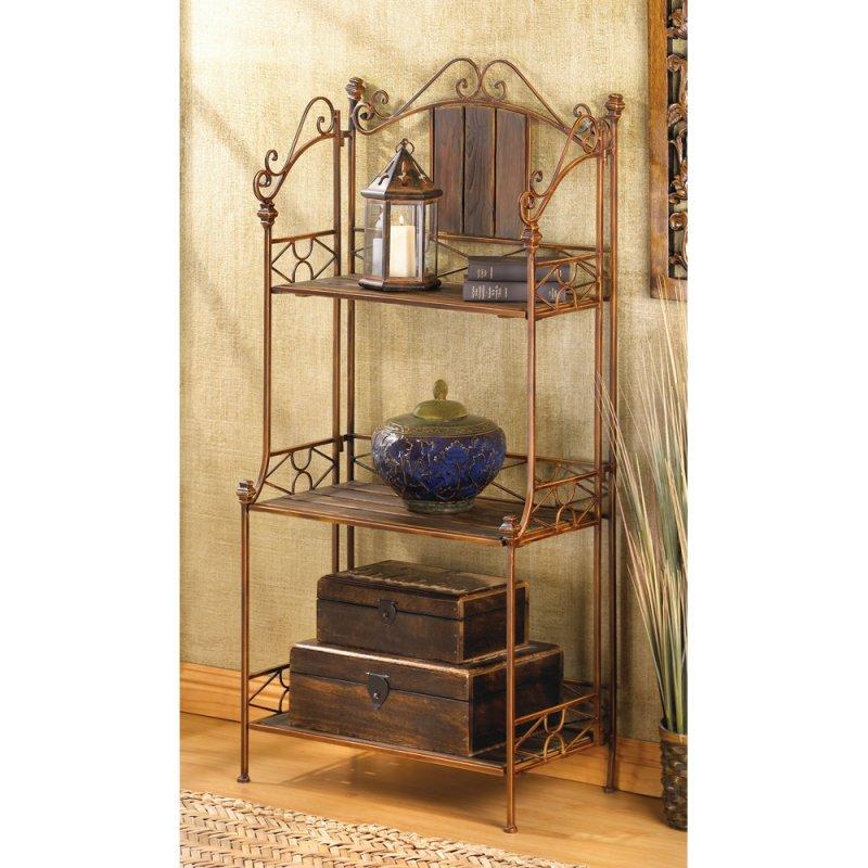 Image 0 of Rustic Scrollwork Baker's Rack Wood Shelves