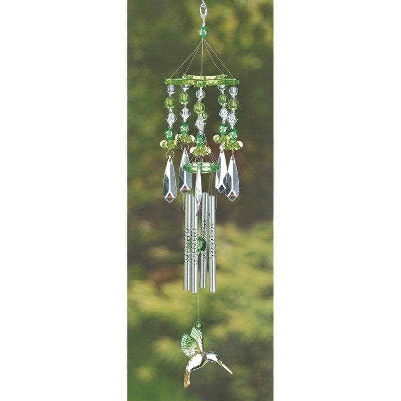 Beaded Green Hummingbird Acrylic Wind Chime