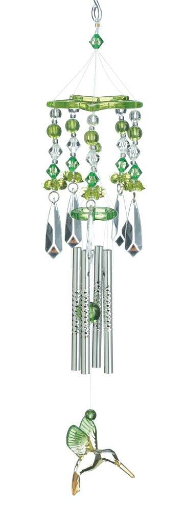 Image 1 of Beaded Green Hummingbird Acrylic Wind Chime