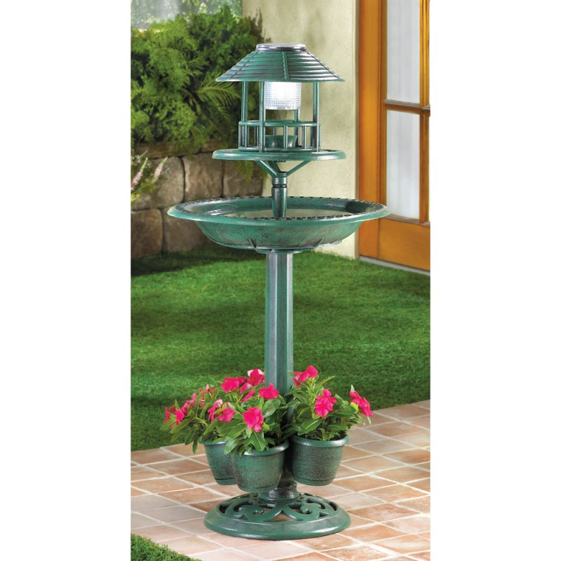 Image 0 of 3-in-1 Solar Lamp Birdbath Planter Garden Centerpiece