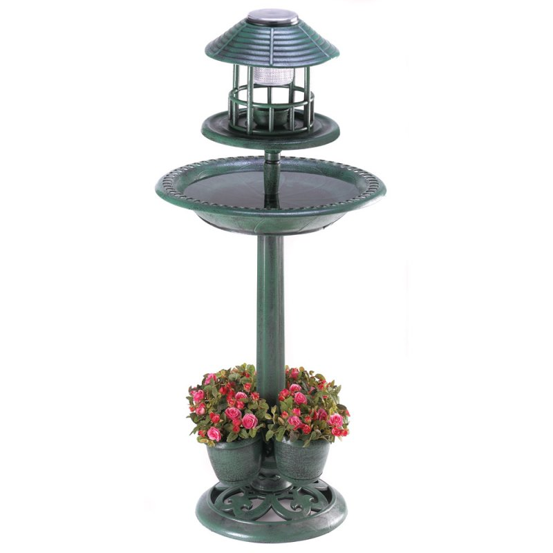 Image 1 of 3-in-1 Solar Lamp Birdbath Planter Garden Centerpiece