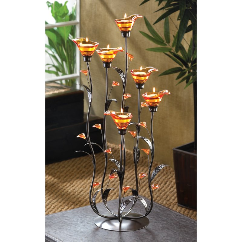 Image 0 of 2 Ft. High Amber Calla Lily Candelabra Candle Holder