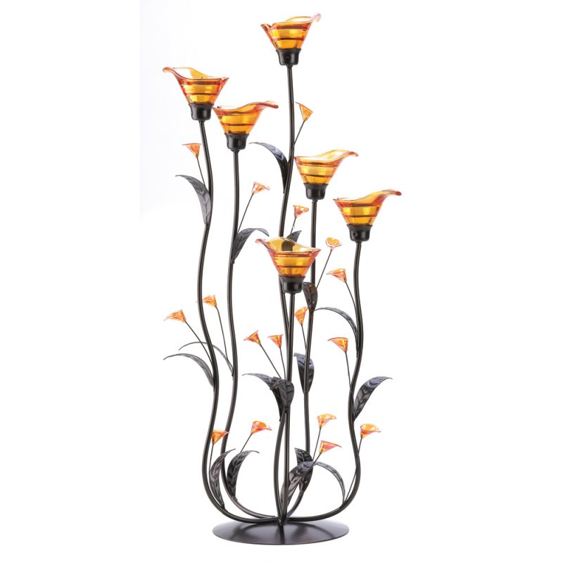 '.Amber Calla Lily Candleholder.'