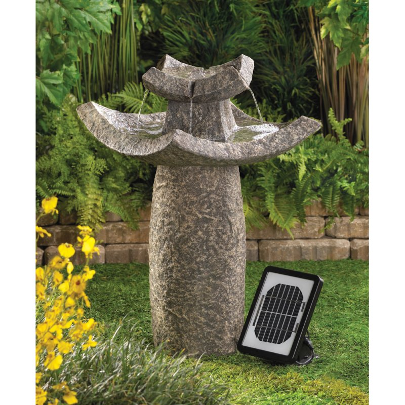 Asian Temple Design Solar Water Fountain Pump Included