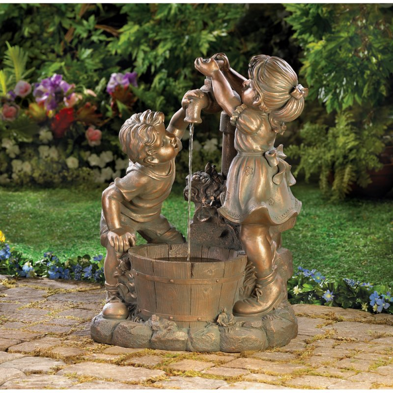 Children Pumping Water in Bucket Garden Fountain