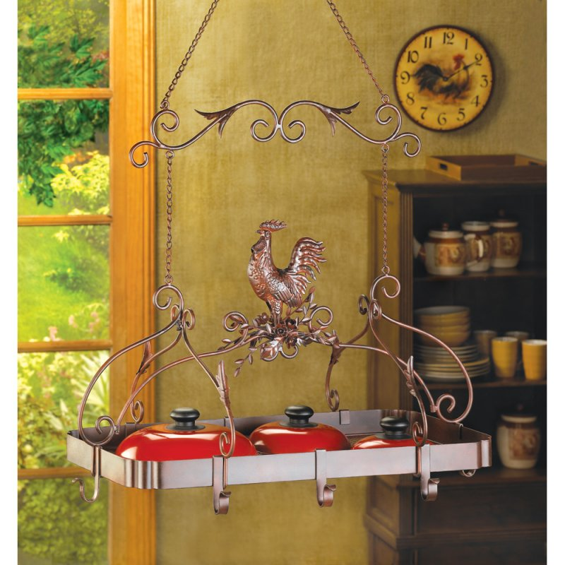 Image 0 of Country Rooster Kitchen Pot Rack Rust-Red Finish
