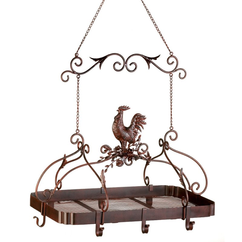 Image 1 of Country Rooster Kitchen Pot Rack Rust-Red Finish