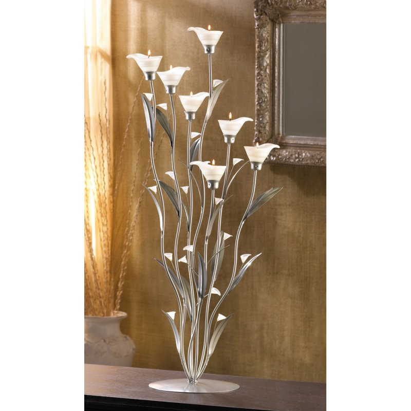 Image 0 of Art Deco Silver Calla Lily Candelabra Candle Holder