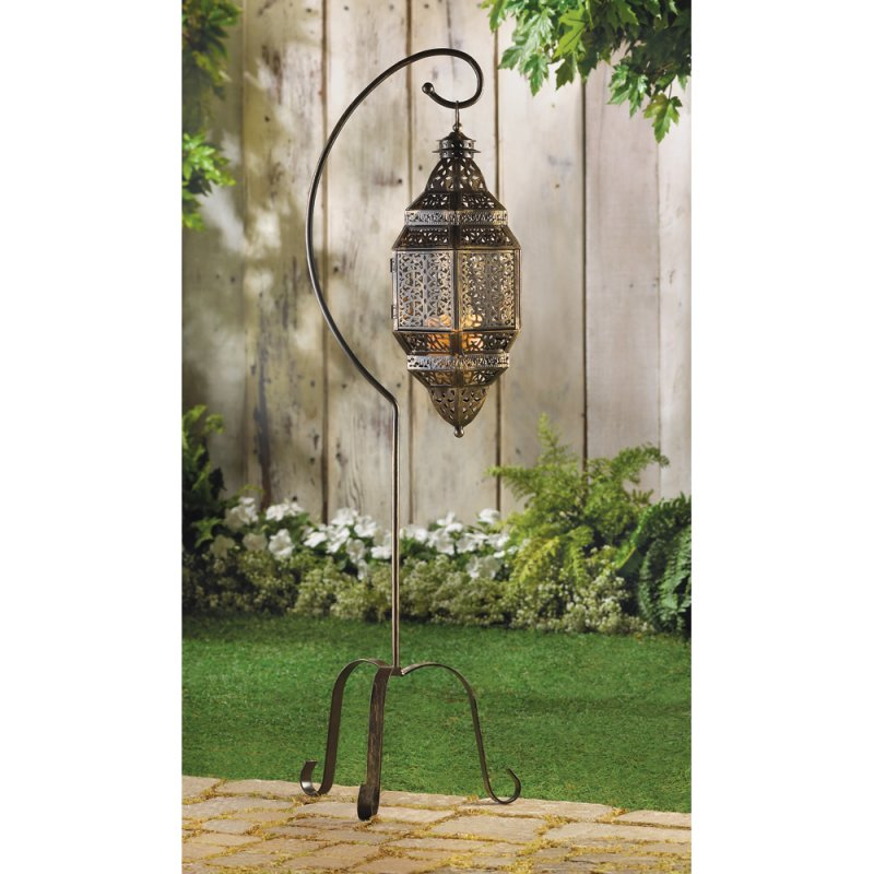 Image 0 of Hanging Moroccan Lattice Candle Lantern Stand Included