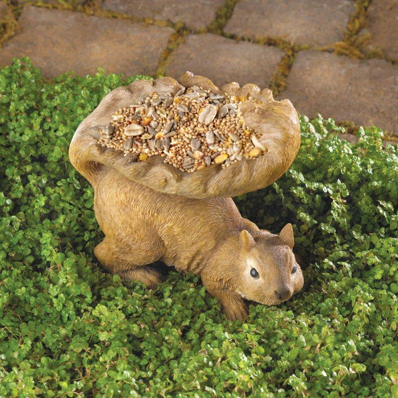 Woodland Brown Squirrel Garden Statue Bird Feeder