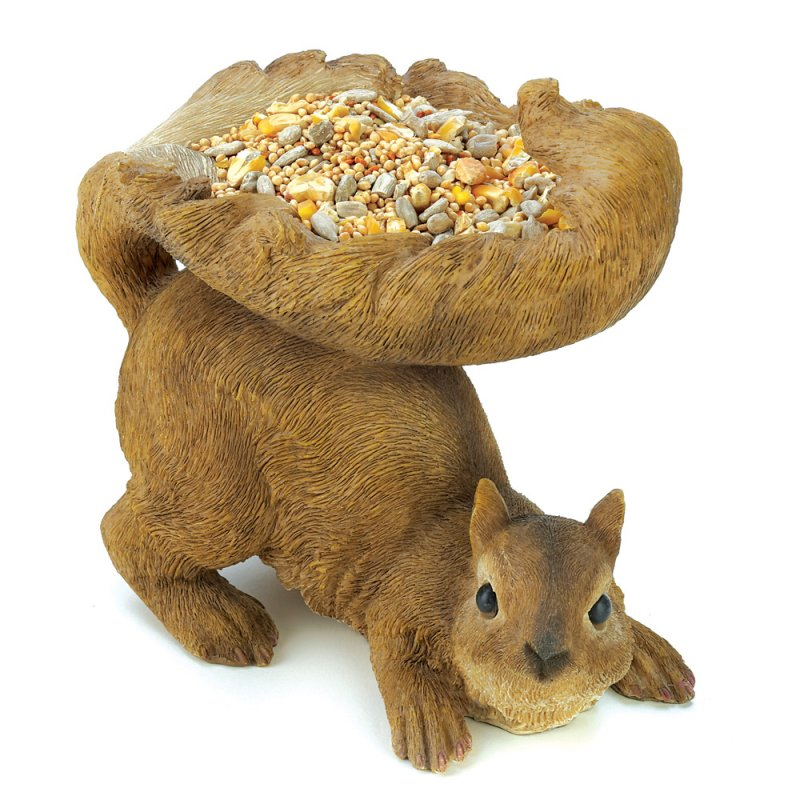Image 1 of Woodland Brown Squirrel Garden Statue Bird Feeder