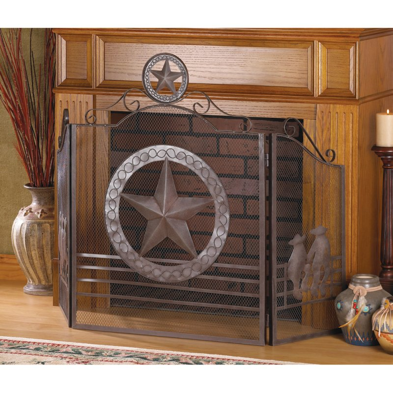Rustic Weathered Texas Lone Star & Cowboy Theme Fireplace Screen