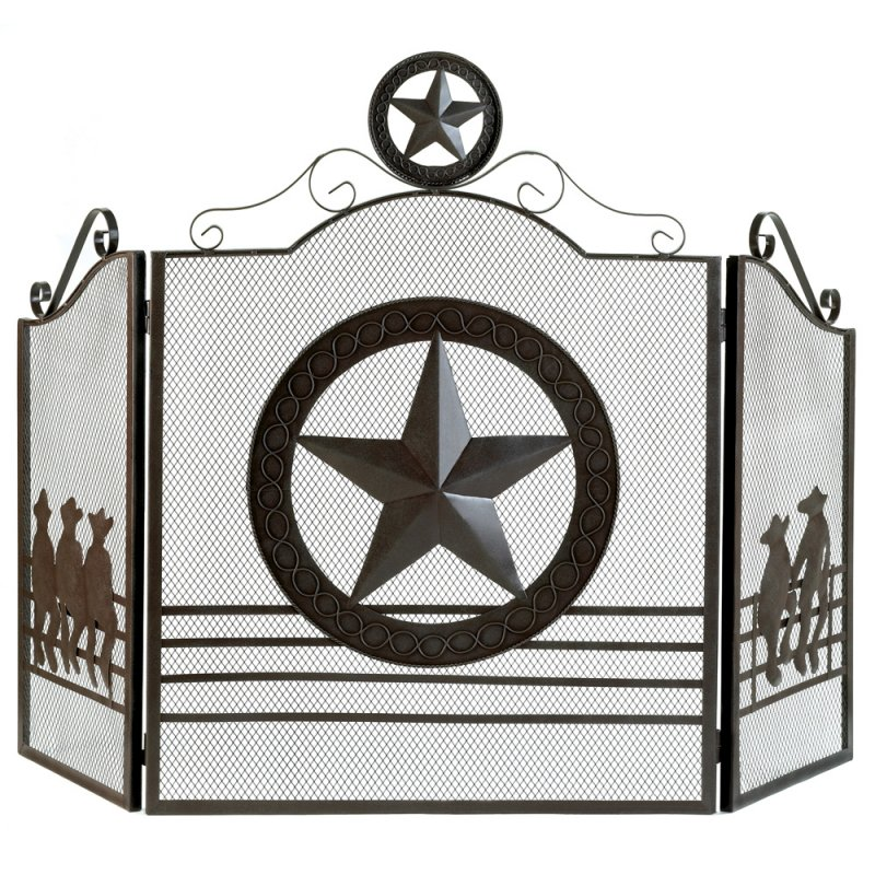 Image 1 of Rustic Weathered Texas Lone Star & Cowboy Theme Fireplace Screen