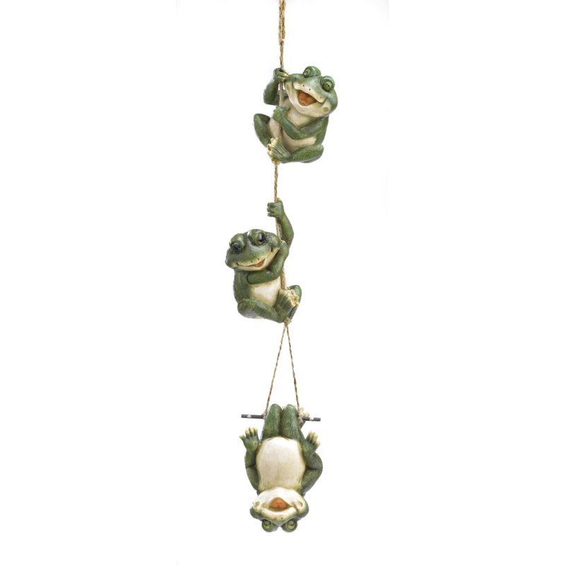 Image 0 of Frogs Three Frolicking Frogs Hanging on Rope Garden Decor
