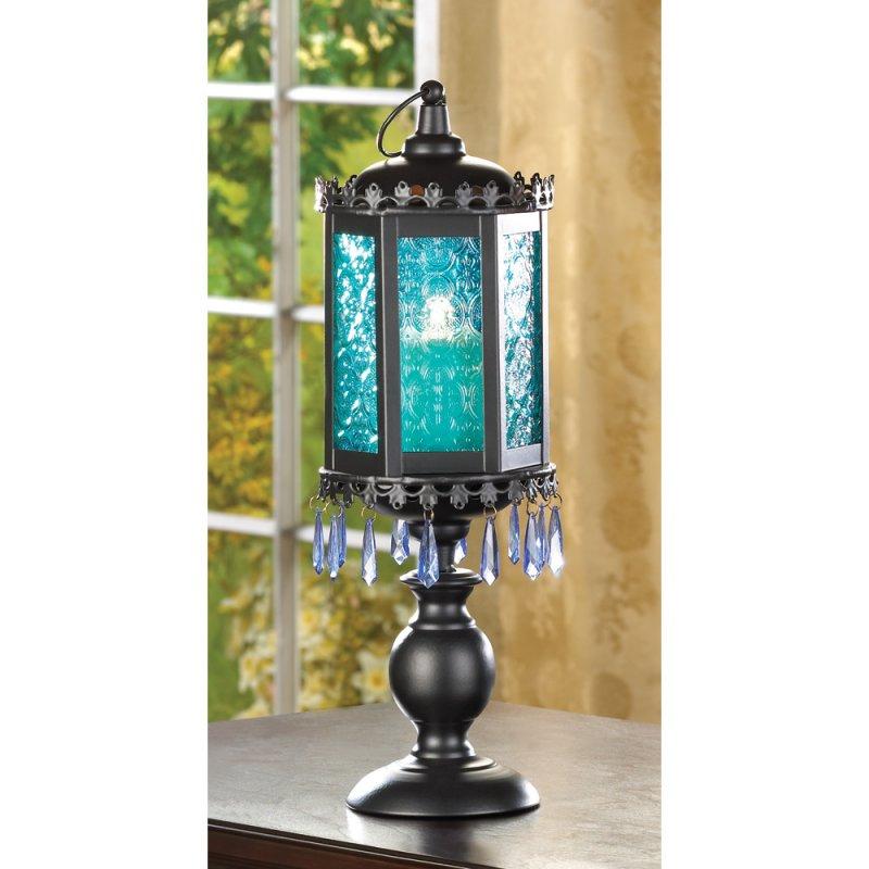 Image 0 of Exotic Azure Blue Pedestal Candle Holder Lamp Lantern
