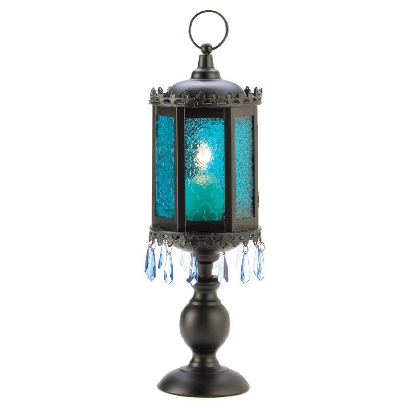 Image 1 of Exotic Azure Blue Pedestal Candle Holder Lamp Lantern