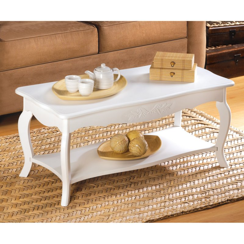 Image 0 of Elegant White Cottage Style Coffee Table