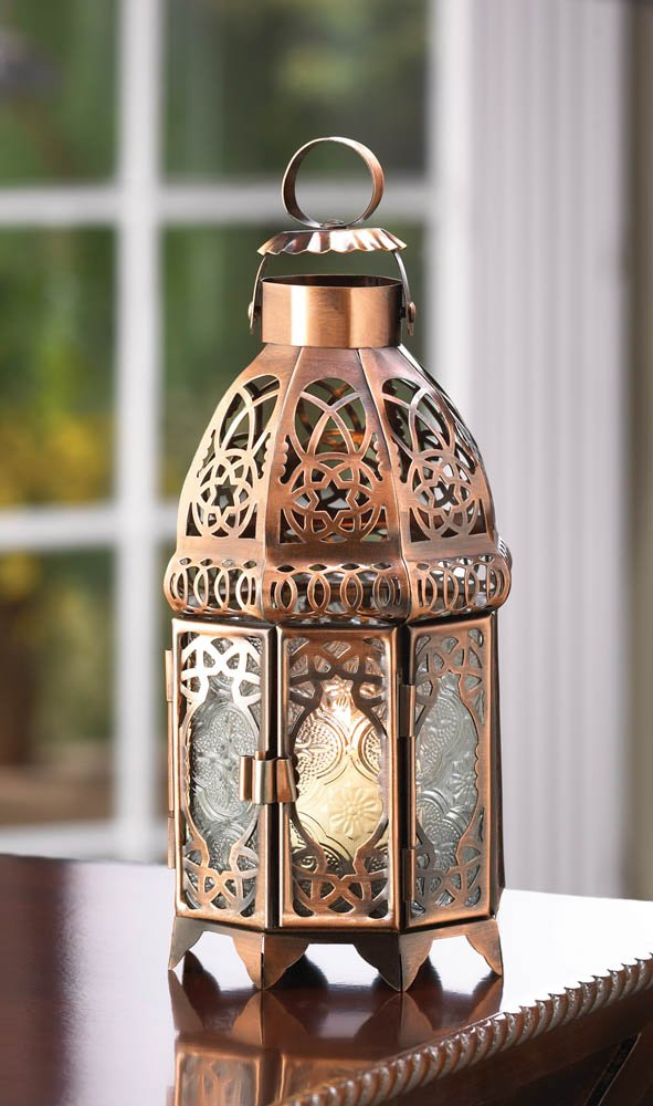 Copper Finish Moroccan Design Double Door Lantern