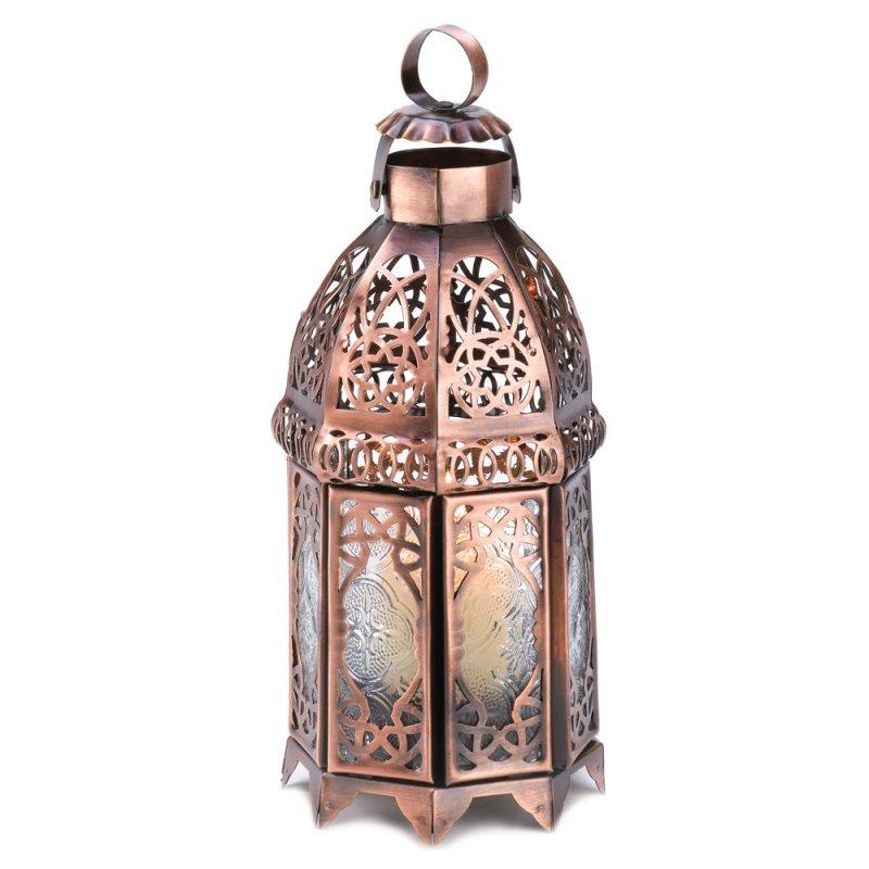 Image 1 of Copper Finish Moroccan Design Double Door Lantern