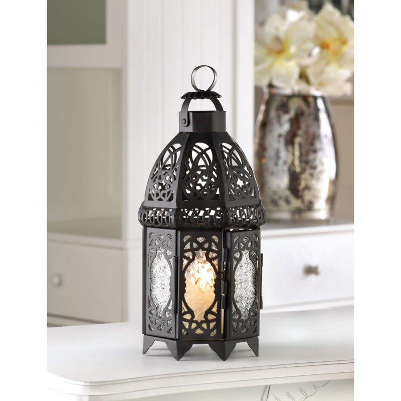 Image 0 of Exotic Moroccan Style Black Lattice Candle Lantern