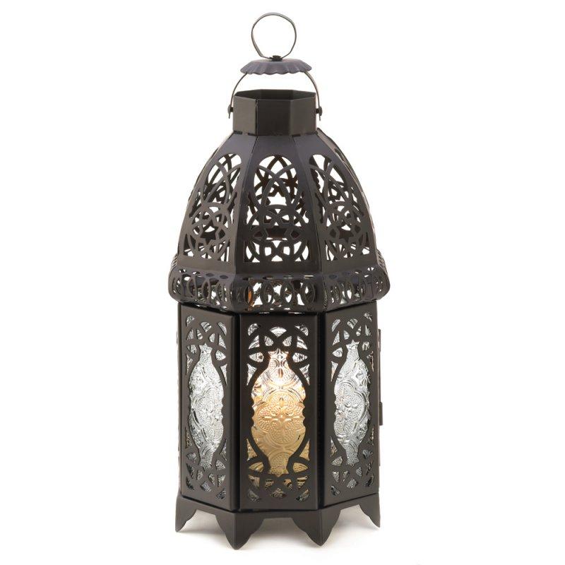 Image 1 of Exotic Moroccan Style Black Lattice Candle Lantern