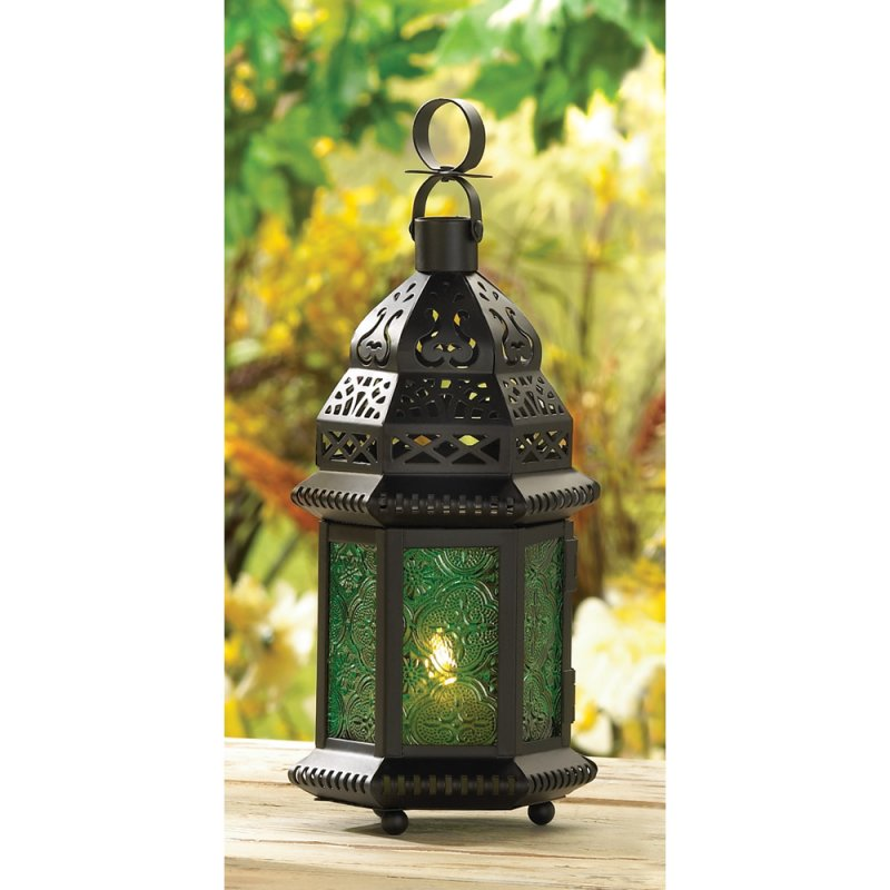 Image 0 of Emerld Green Glass Moroccan Style Candle Lantern