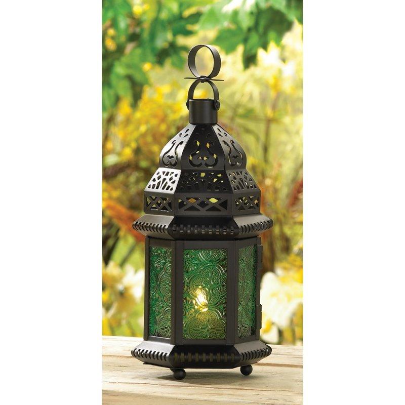 Emerld Green Glass Moroccan Style Candle Lantern
