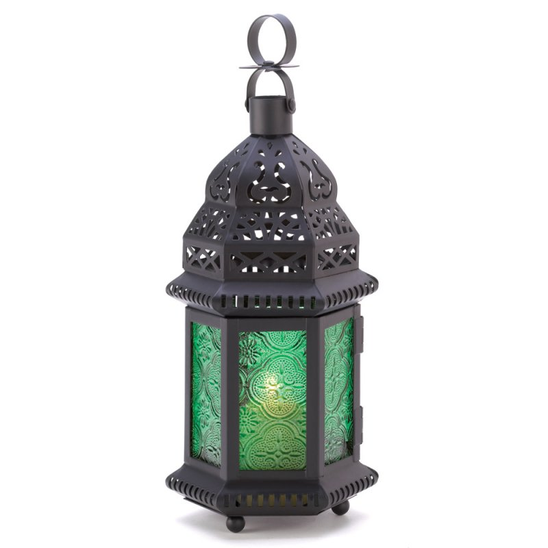 Image 1 of Emerld Green Glass Moroccan Style Candle Lantern