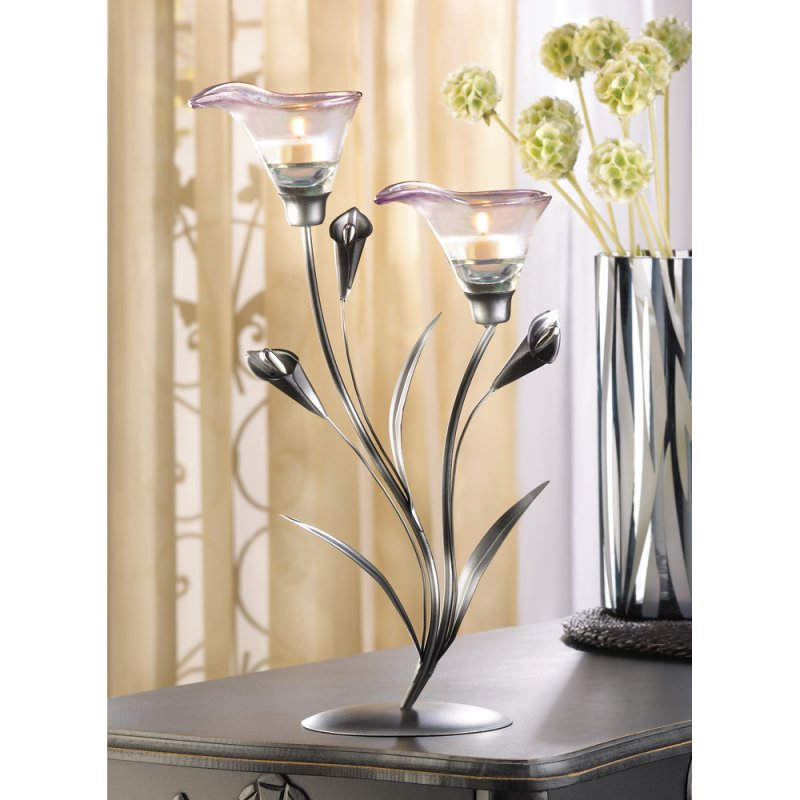 Art Deco Calla Lily Candle Holder Shades of Pewter Stem