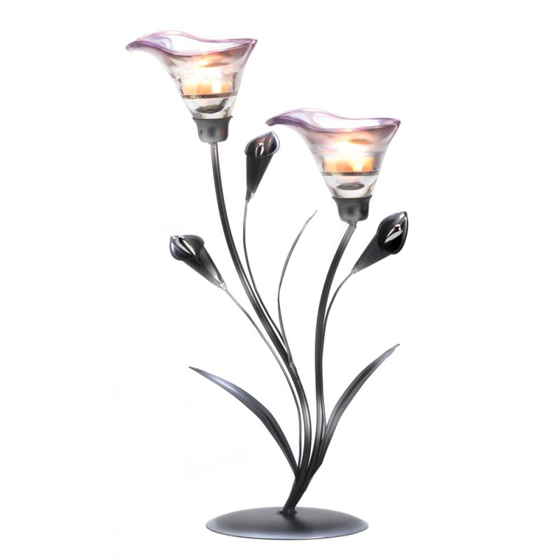 Image 1 of Art Deco Calla Lily Candle Holder Shades of Pewter Stem