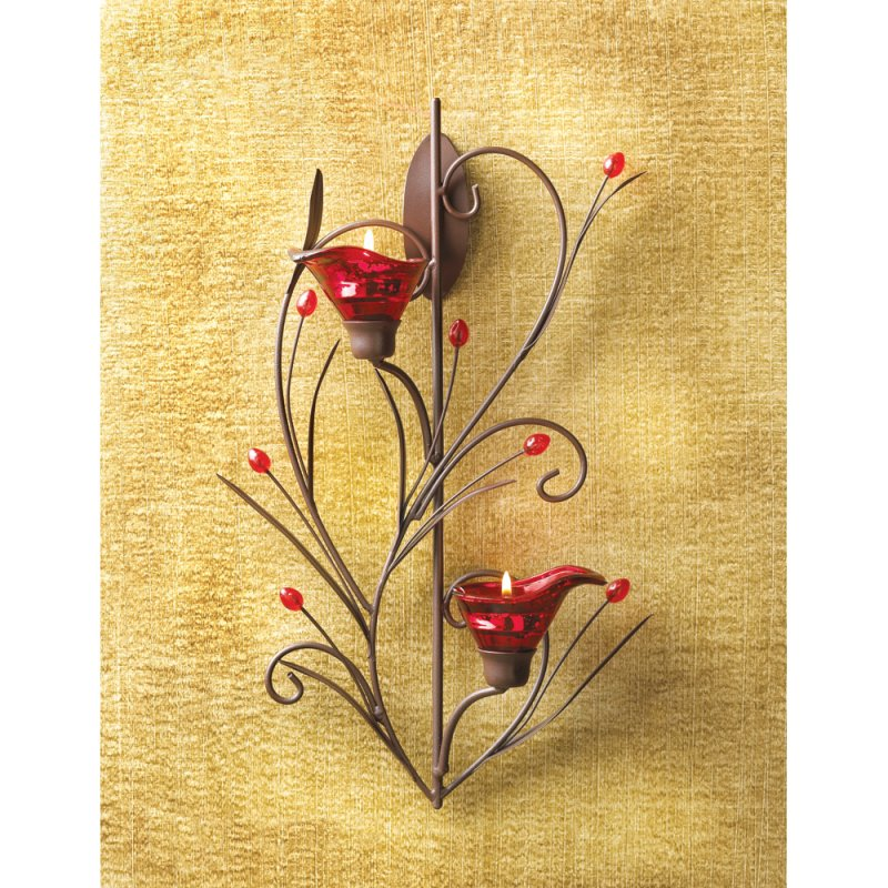 Image 1 of Ruby Red Blossom Art Deco Style Wall Sconce